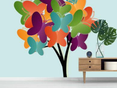 Abstract tree illustration with butterflies