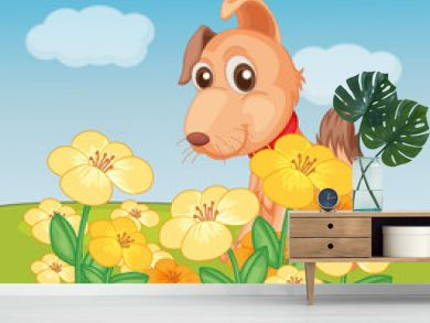 A dog and flower plant