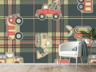 CuteTrucks with tartan background - seamless pattern