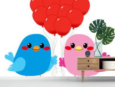Birds Love Heart Balloons