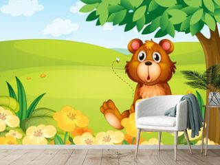 A bear holding a pot of honey