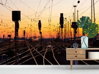 Railway Tracks at Sunset