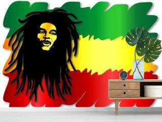Reggae Singer on Rasta Colors-Uomo e Colori Rasta-Vector