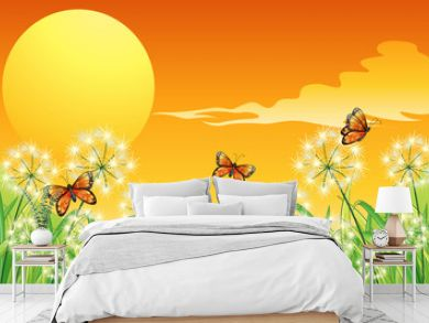 A sunset scenery with three orange butterflies
