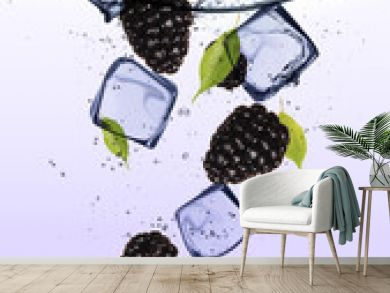 Blackberries with ice cubes