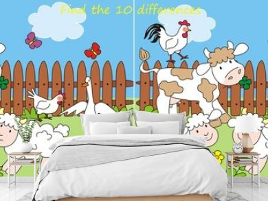 farm- find 10 differences, vector illustration