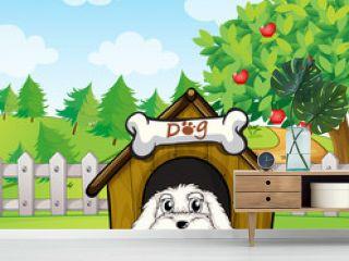 A puppy inside a doghouse near an apple tree
