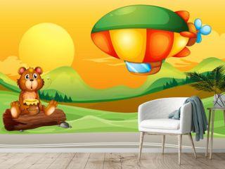 A bear near the road and an airship