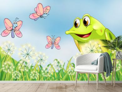 Frog and butterflies in the garden