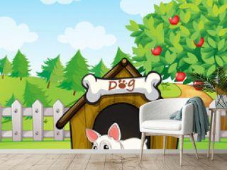 A bulldog outside its dog house with a dog food