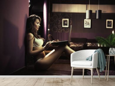 Sexy lady browsing internet late night