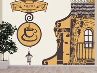 banner for menu to old cafe in city