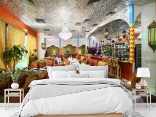 eastern interior of luxury restaurant