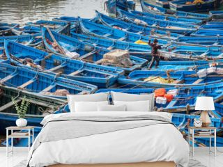 Blue fishing boats in harbor Essaouira Morocco