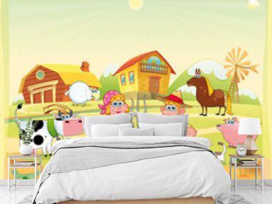 Farm Family. Funny cartoon and vector illustration.