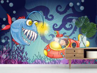 monster fish and submarine