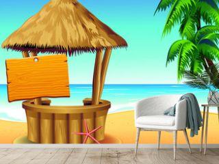 Bar Capanna sulla Spiaggia-Snack Bar on Tropical Beach-Vector