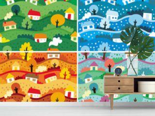 Seamless patterns with 4 seasons