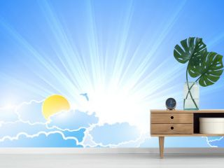 Vector sunburst background with clouds