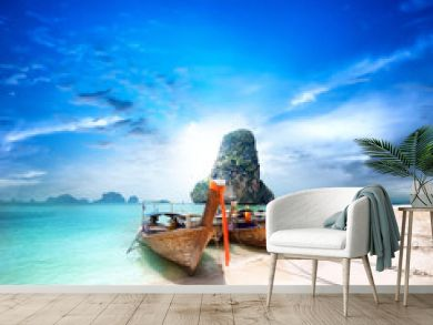 Tropical island travel landscape. Thailand beach and boats