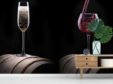 alcohol drinks set isolated on a black