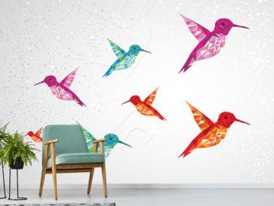 Colorful humming birds illustration.
