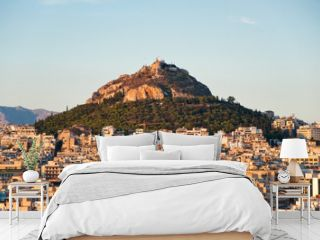 View of Athens and Mount Lycabettus, Greece.
