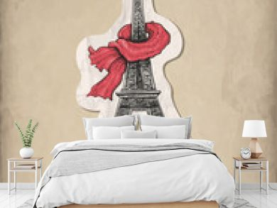 Fashion illustration. Eiffel Tower, shoes and handbag