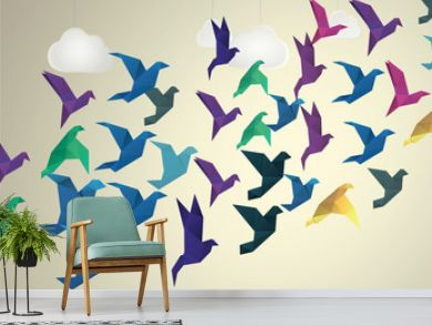 Origami Birds flying and fake clouds background