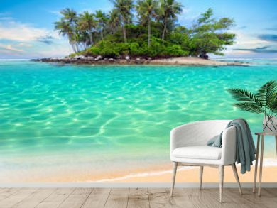 Tropical island and sand beach exotic travel background