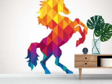 abstract horse symbol with colorful diamond