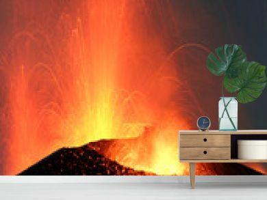 Volcano Stromboli erupting night eruption