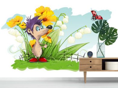 Vector card with flowers and little mouse