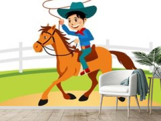 little cowboy riding horse and lasso throwing