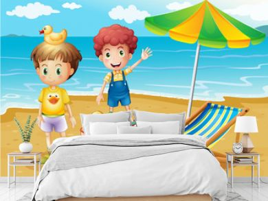 Kids at the beach with an umbrella and a foldable bed