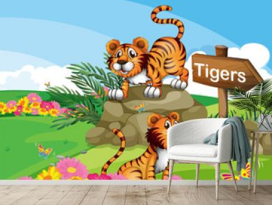 Two tigers beside a signboard
