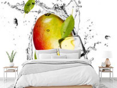 Mango with ice cubes, isolated on white background
