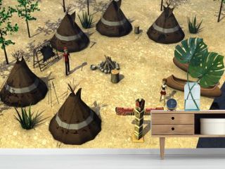 3d render of cartoon character in indian village