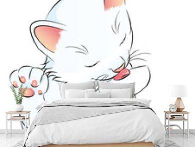 weißes Katzenbaby putzt sich