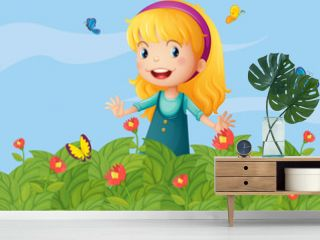 A girl with butterflies at the garden