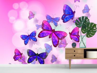 A pink stationery with a group of butterflies