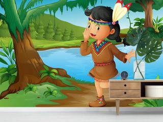An Indian girl in the forest