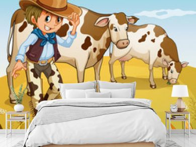 A cowboy with two cows eating