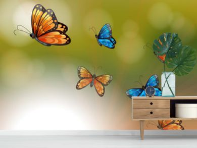 A special paper with orange and blue butterflies