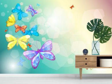 Colorful butterflies in a special paper