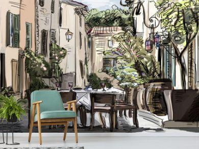 European city street color  illustration