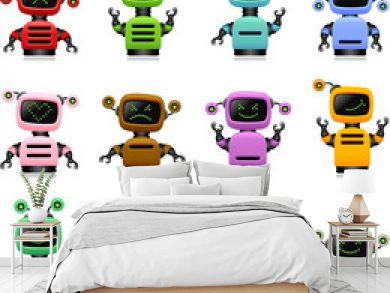 colorful cute robots set