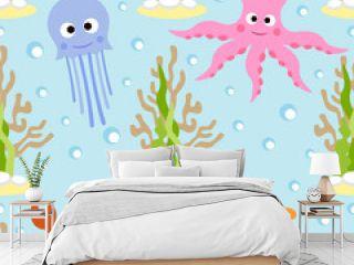 Sea animals seamless background card