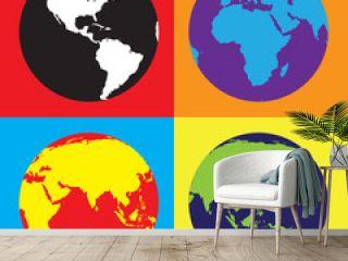 Pop Art World Globes
