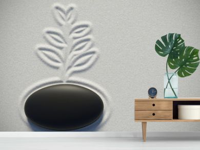 Zen garden in a top view with a plant drawing on the sand